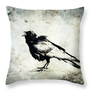 Raven On Blue Throw Pillow by Carol Leigh