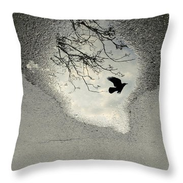 Raven Reflection Throw Pillow by Cambion Art