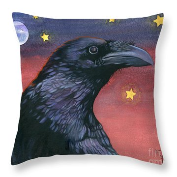 Raven Steals The Moon - Moon What Moon? Throw Pillow