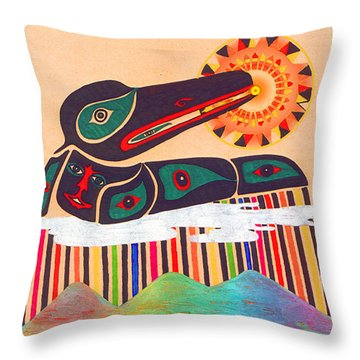 Raven Swallows The Sun Throw Pillow