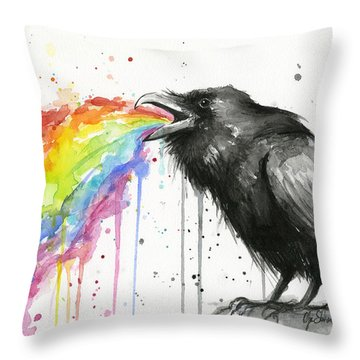 Raven Tastes The Rainbow Throw Pillow