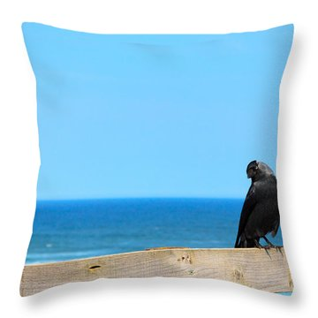 Throw Pillow featuring the photograph Raven Watching by Peta Thames
