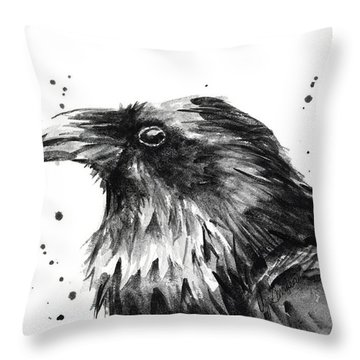 Raven Watercolor Portrait Throw Pillow