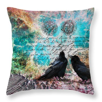 Crow Whispers In The Nowhere Throw Pillow