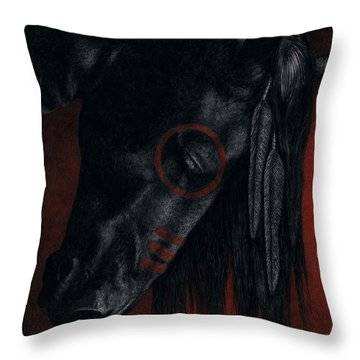 Throw Pillow featuring the painting Raven Wing by Pat Erickson
