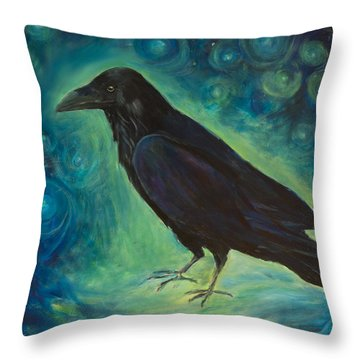 Throw Pillow featuring the painting Space Raven by Yulia Kazansky