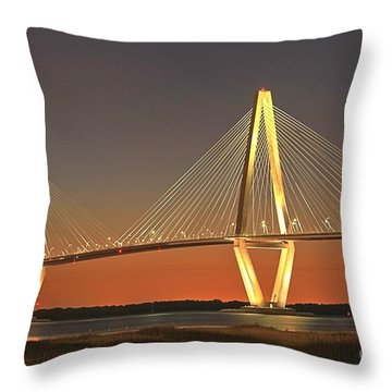 Ravenel Bridge At Dusk Throw Pillow by Adam Jewell