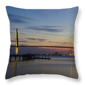 Ravenel Bridge Nightfall Throw Pillow by Dale Powell
