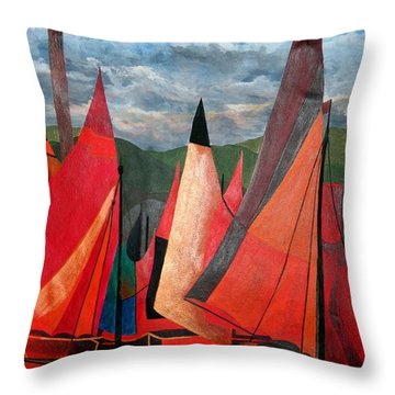 Throw Pillow featuring the painting Ravenna Regatta by Tracey Harrington-Simpson