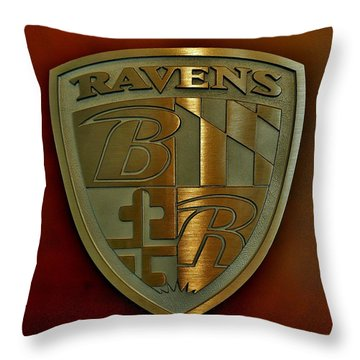 Ravens Coat Of Arms Throw Pillow by Robert Geary