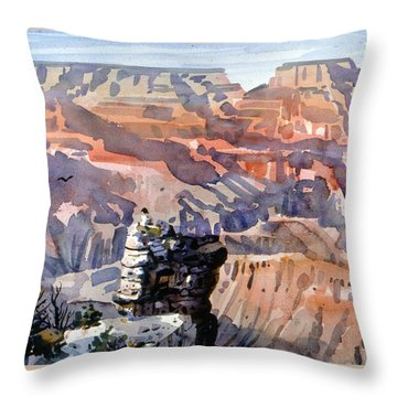 Throw Pillow featuring the painting Ravens by Donald Maier