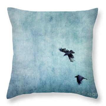 Ravens Flight Throw Pillow by Priska Wettstein