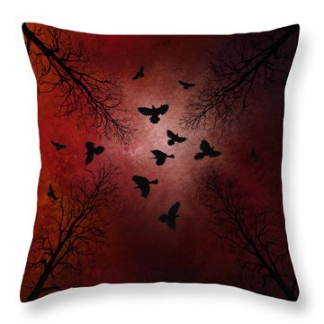 Ravens In The Sky Throw Pillow