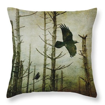 Ravens Of The Mist Artistic Expression Throw Pillow by Randall Nyhof