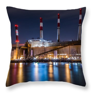 Ravenswood Generating Station Throw Pillow by Mihai Andritoiu