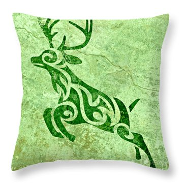 Throw Pillow featuring the digital art Ray Buck In Green  by Mindy Bench