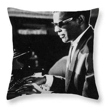 Ray Charles At The Piano Throw Pillow