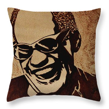 Ray Charles Original Coffee Painting Throw Pillow by Georgeta  Blanaru