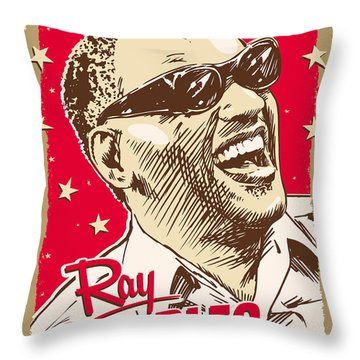Ray Charles Pop Art Throw Pillow