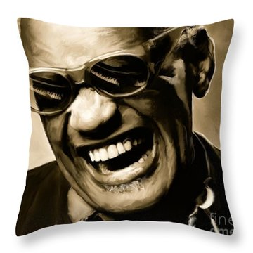 Ray Charles - Portrait Throw Pillow by Paul Tagliamonte