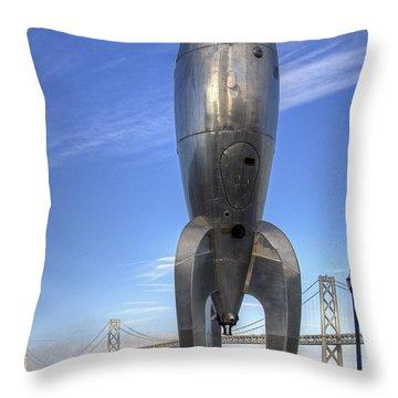 Raygun Gothic Rocketship Throw Pillow