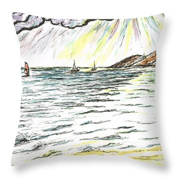 Rays Of Sunshine Between Clouds Throw Pillow