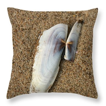 Razor Clam Throw Pillow by Bob and Jan Shriner