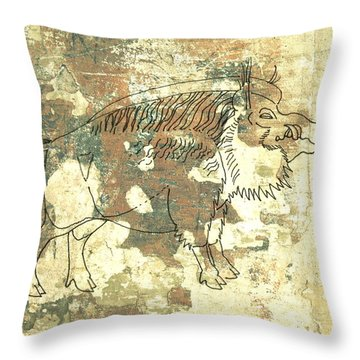 Cave Painting 2 Throw Pillow by Larry Campbell