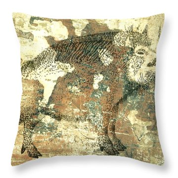 Cave Painting 4  Throw Pillow by Larry Campbell
