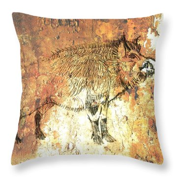 Cave Painting 5 Throw Pillow by Larry Campbell