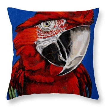 Razzy Red - Bird- Macaw Throw Pillow