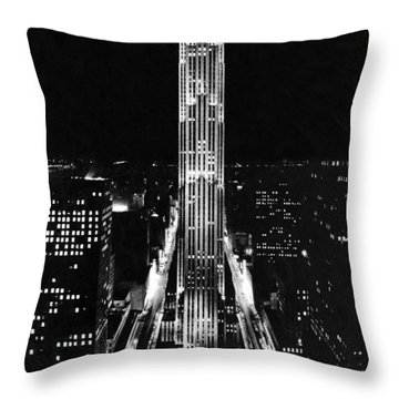 Rca Building At Night In Nyc Throw Pillow by Underwood Archives