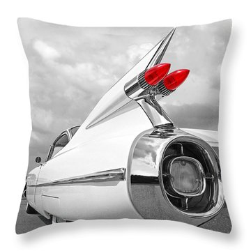 Reach For The Skies - 1959 Cadillac Tail Fins Black And White Throw Pillow