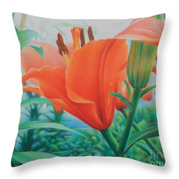 Throw Pillow featuring the painting Reach For The Skies by Pamela Clements