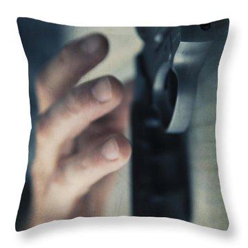 Reaching For A Gun Throw Pillow by Edward Fielding