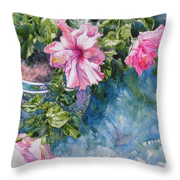 Reaching For Pretty Pink Throw Pillow