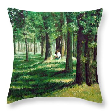 Reader In The Park Throw Pillow