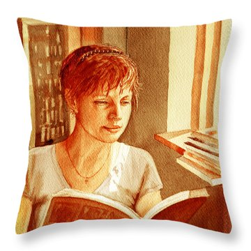 Throw Pillow featuring the painting Reading A Book Vintage Style by Irina Sztukowski