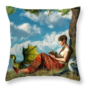 Reading About Dragons Throw Pillow