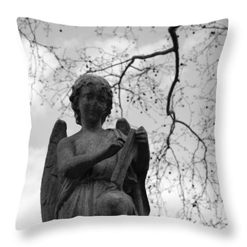 Reading Angel Throw Pillow by Jennifer Ancker
