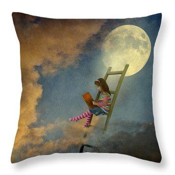 Reading At Moonlight Throw Pillow