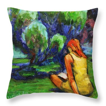 Reading In A Park Throw Pillow by Xueling Zou