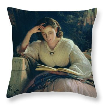 Reading Throw Pillow by Ivan Nikolaevich Kramskoy