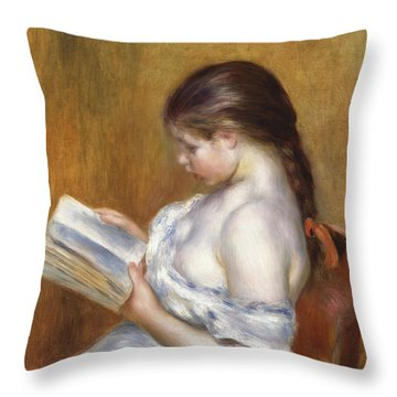 Reading Throw Pillow by Pierre Auguste Renoir