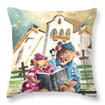 Reading The Bible In La Iruela In Spain Throw Pillow by Miki De Goodaboom