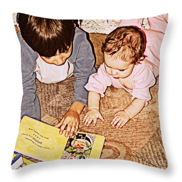 Story Time Throw Pillow by Valerie Reeves