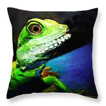 Ready To Leap - Lizard Art By Sharon Cummings Throw Pillow by Sharon Cummings