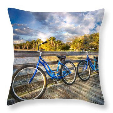 Throw Pillow featuring the photograph Ready To Ride by Debra and Dave Vanderlaan