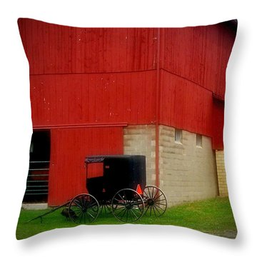 Readying The Buggy Throw Pillow by Desiree Paquette