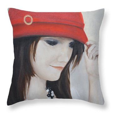 Rebecca's Red Hat Throw Pillow by Patricia Olson